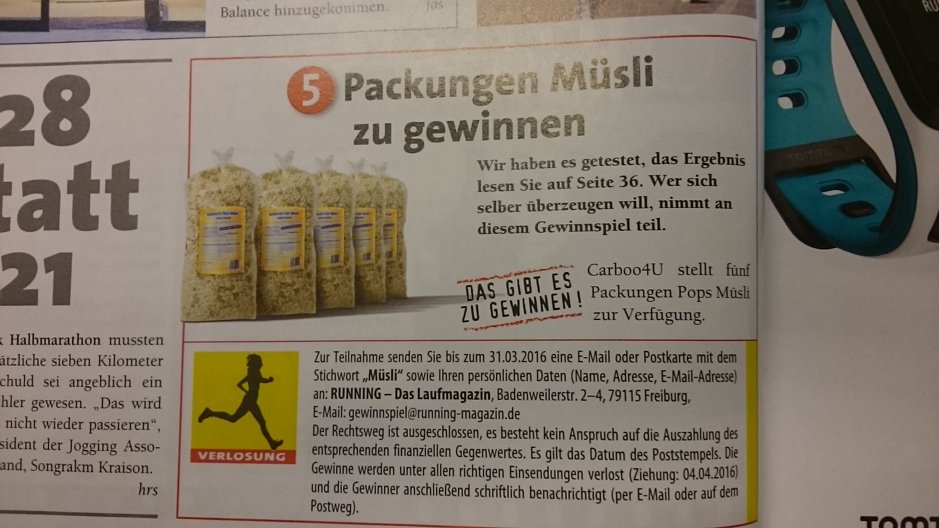 Gewinnspiel - Running - Carboo4U Pops Muesli - carboo-shop.de - http://www.carboo-shop.de/index.php?route=product/product&path=116_139&product_id=74
